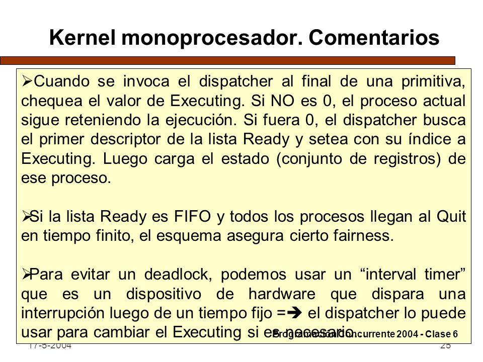 Kernel monoprocesador. Comentarios