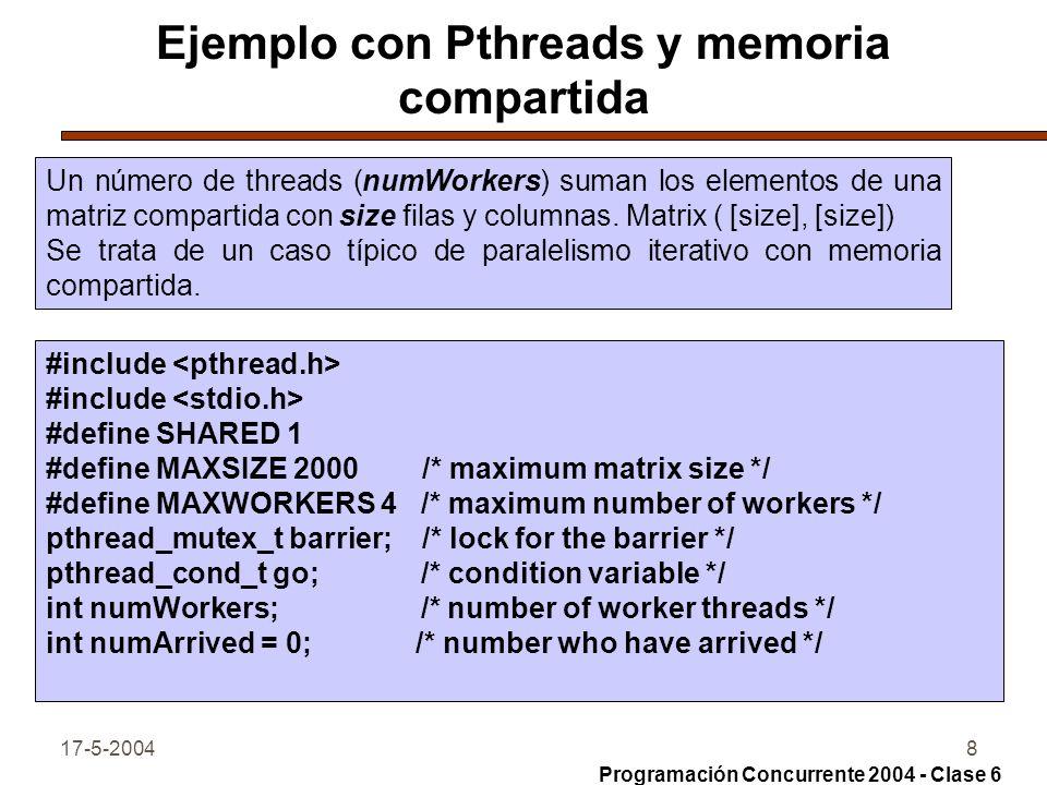 Ejemplo con Pthreads y memoria compartida