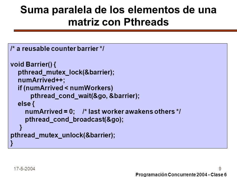 Suma paralela de los elementos de una matriz con Pthreads
