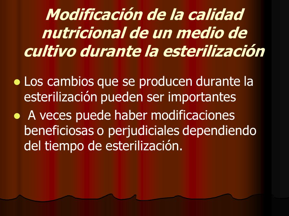 Modificación de la calidad nutricional de un medio de cultivo durante la esterilización