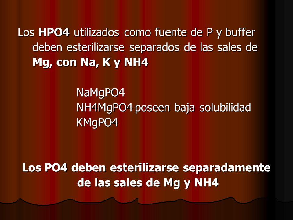 Los PO4 deben esterilizarse separadamente