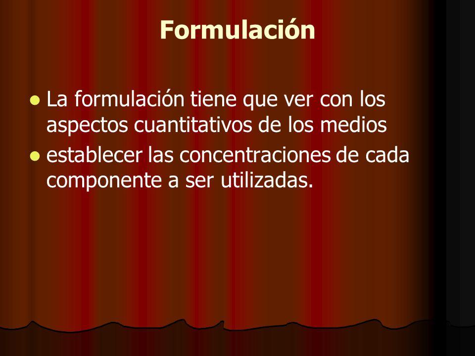 Formulación La formulación tiene que ver con los aspectos cuantitativos de los medios.