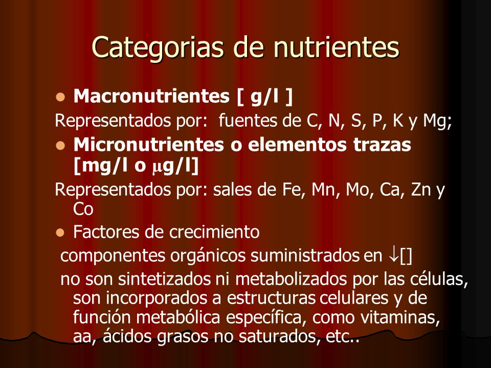 Categorias de nutrientes
