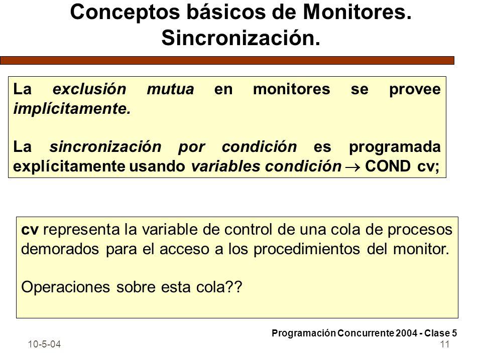 Conceptos básicos de Monitores. Sincronización.