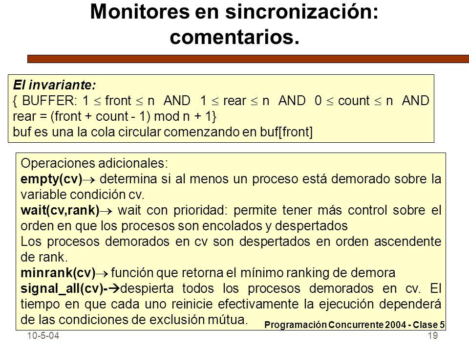 Monitores en sincronización: comentarios.