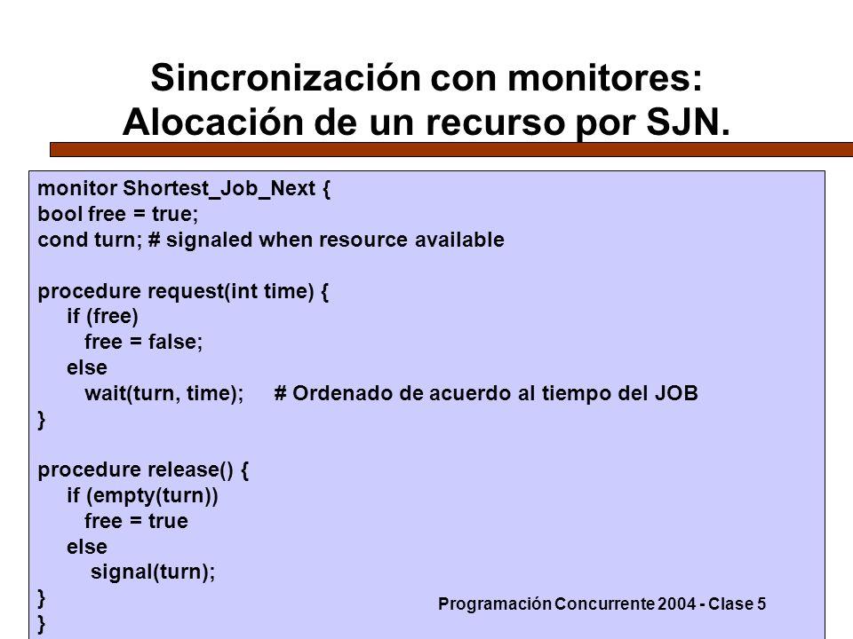 Sincronización con monitores: Alocación de un recurso por SJN.