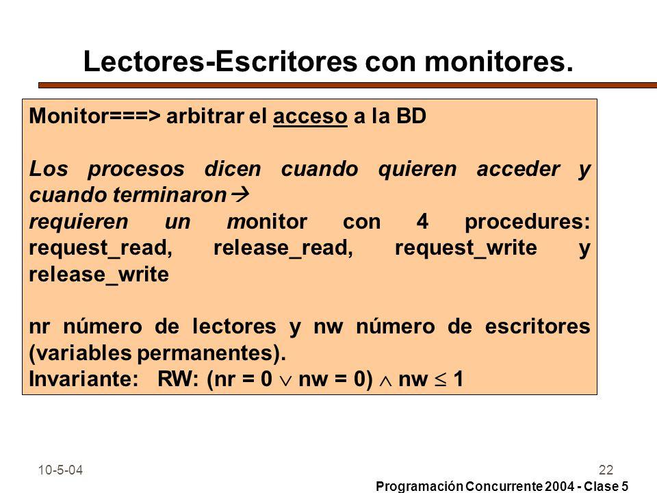 Lectores-Escritores con monitores.