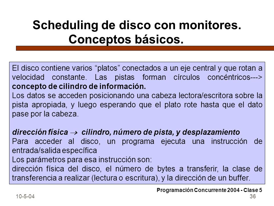 Scheduling de disco con monitores. Conceptos básicos.