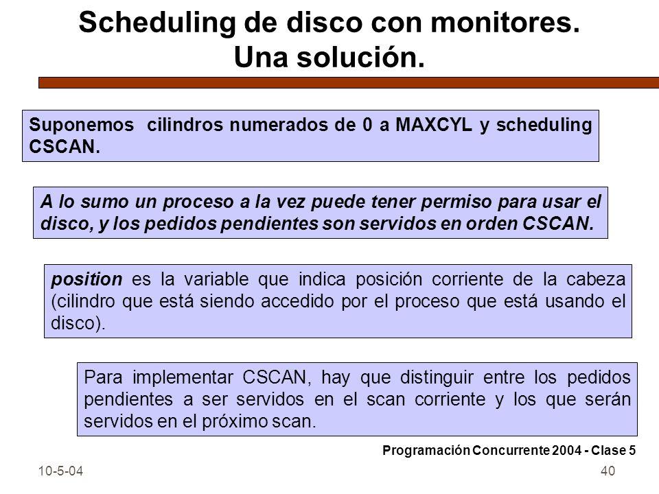 Scheduling de disco con monitores. Una solución.