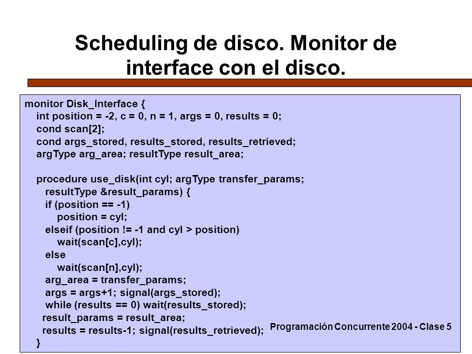 Scheduling de disco. Monitor de interface con el disco.