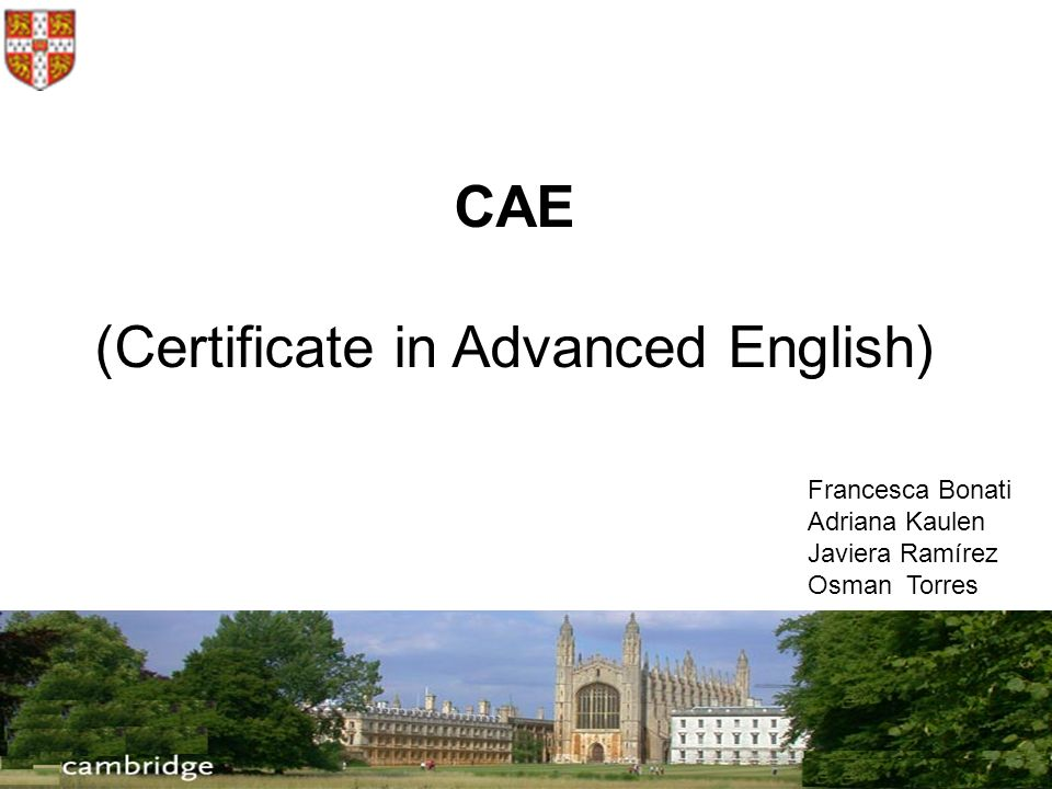 (Certificate in Advanced English)