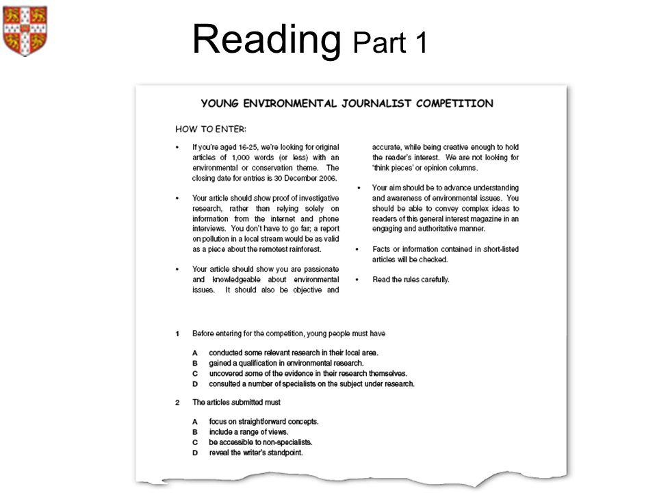 Reading Part 1 .
