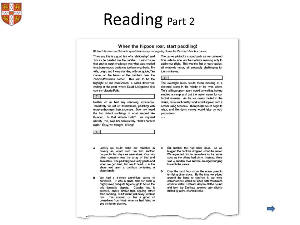 Reading Part 2