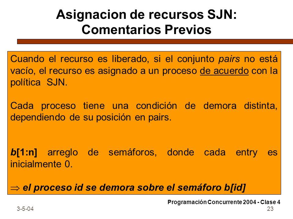 Asignacion de recursos SJN: Comentarios Previos