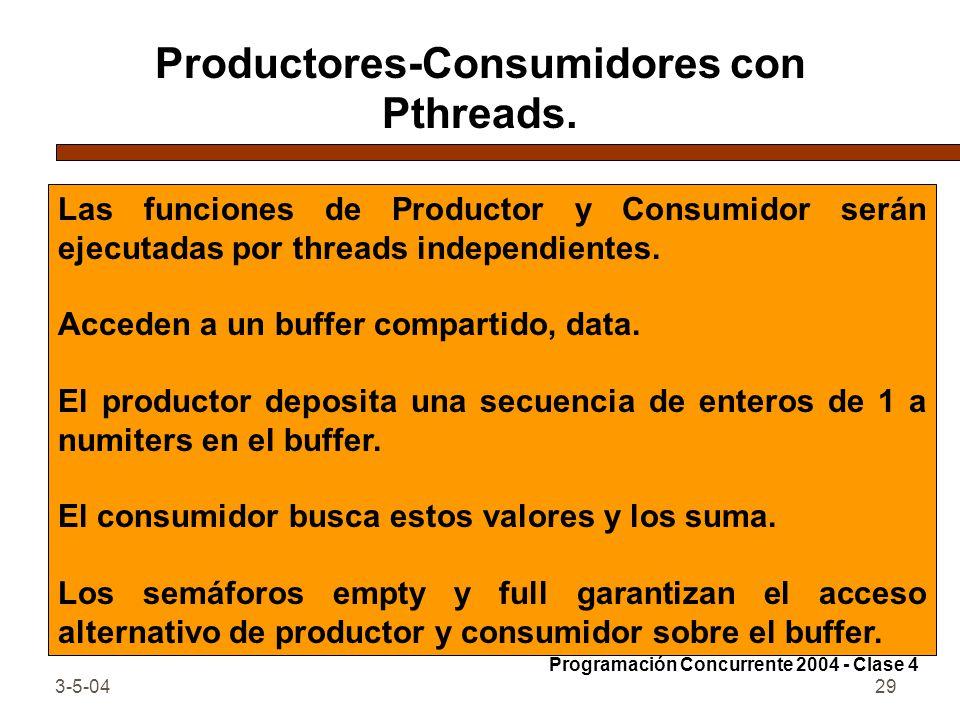Productores-Consumidores con Pthreads.