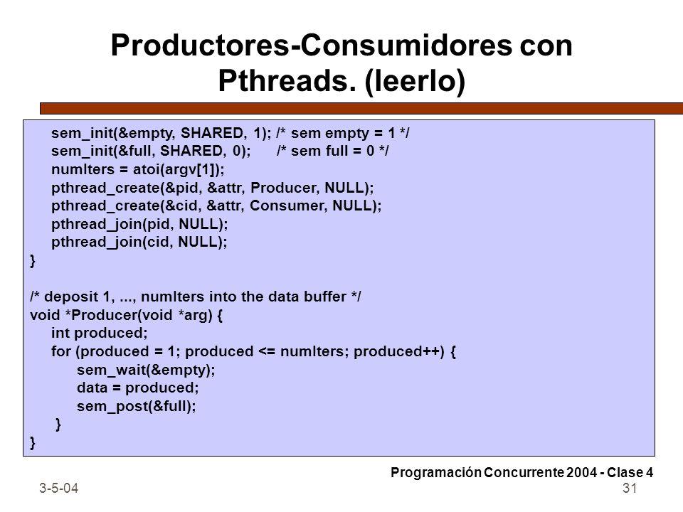 Productores-Consumidores con Pthreads. (leerlo)