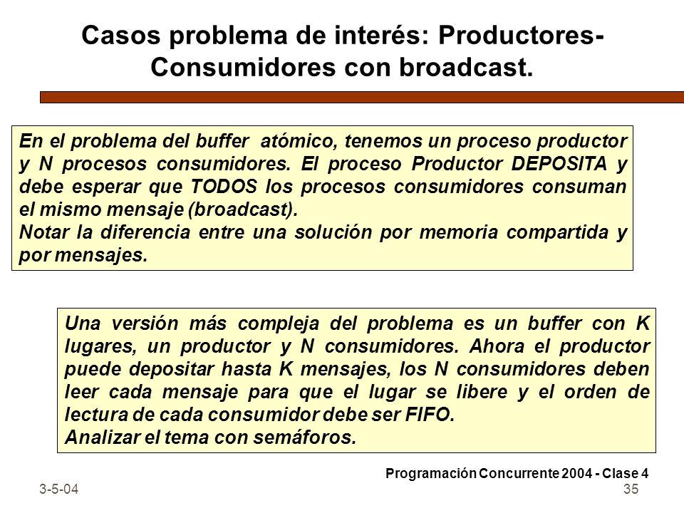 Casos problema de interés: Productores-Consumidores con broadcast.