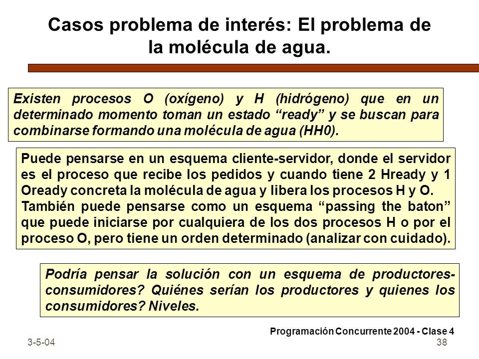 Casos problema de interés: El problema de la molécula de agua.