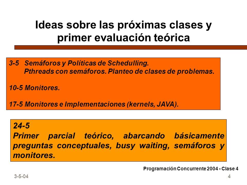 Ideas sobre las próximas clases y primer evaluación teórica