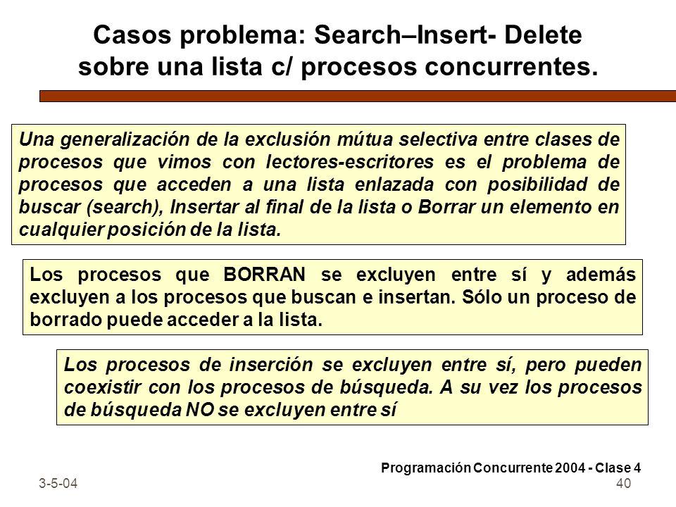 Casos problema: Search–Insert- Delete sobre una lista c/ procesos concurrentes.