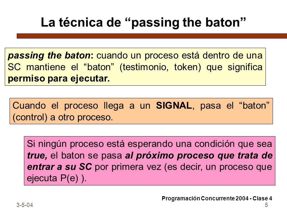 La técnica de passing the baton