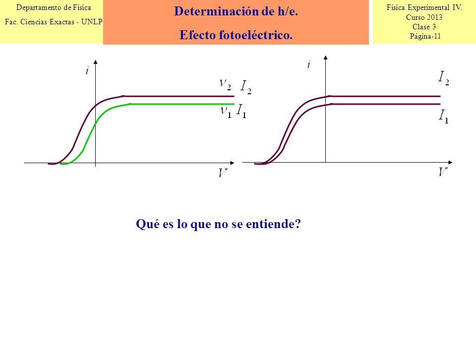 Determinación de h/e. Efecto fotoeléctrico. Qué es lo que no se entiende