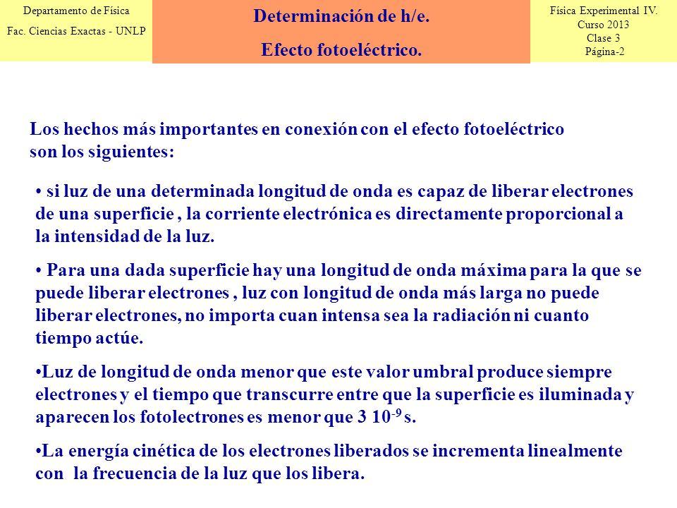 Determinación de h/e. Efecto fotoeléctrico. Los hechos más importantes en conexión con el efecto fotoeléctrico son los siguientes: