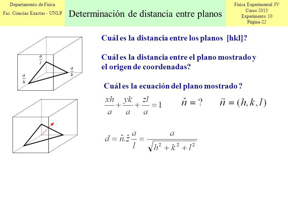 Determinación de distancia entre planos