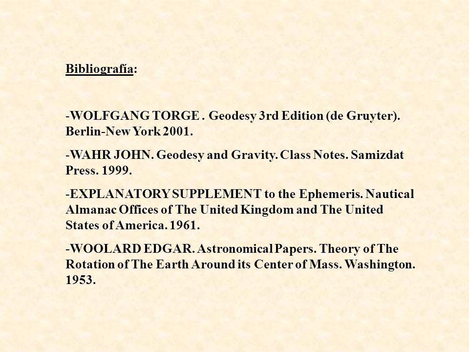 Bibliografía: WOLFGANG TORGE . Geodesy 3rd Edition (de Gruyter). Berlin-New York 2001.
