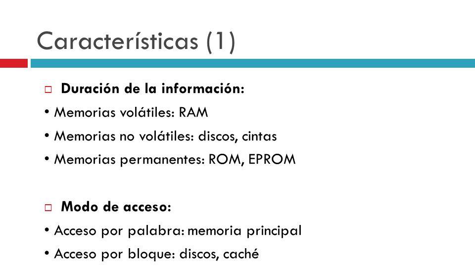 Características (1) Duración de la información: