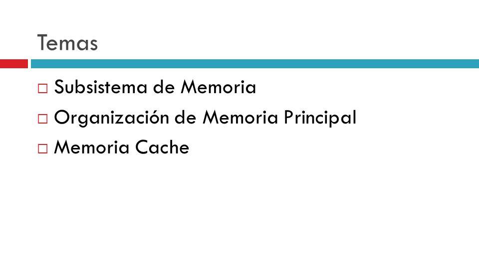 Temas Subsistema de Memoria Organización de Memoria Principal