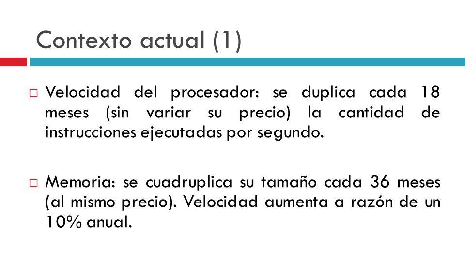 Contexto actual (1) Velocidad del procesador: se duplica cada 18 meses (sin variar su precio) la cantidad de instrucciones ejecutadas por segundo.