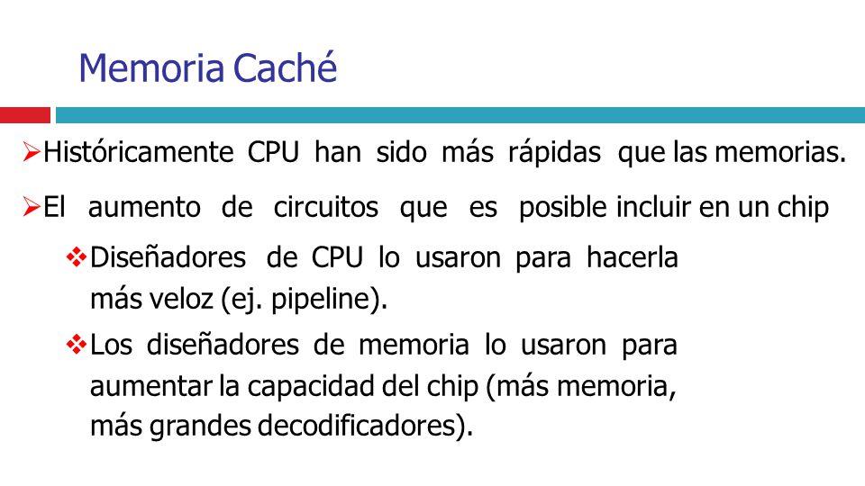 Memoria Caché Históricamente CPU han sido más rápidas que las memorias.