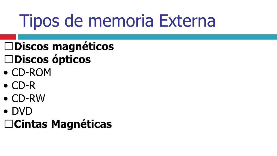 Discos magnéticos Discos ópticos • CD-ROM • CD-R • CD-RW • DVD