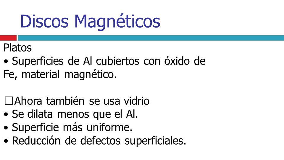 • Superficies de Al cubiertos con óxido de Fe, material magnético.