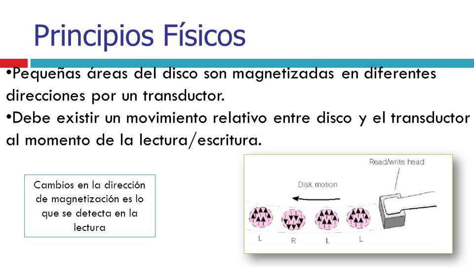 Principios Físicos Pequeñas áreas del disco son magnetizadas en diferentes direcciones por un transductor.