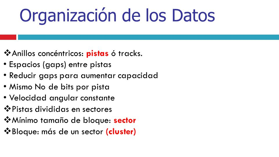 Anillos concéntricos: pistas ó tracks. • Espacios (gaps) entre pistas