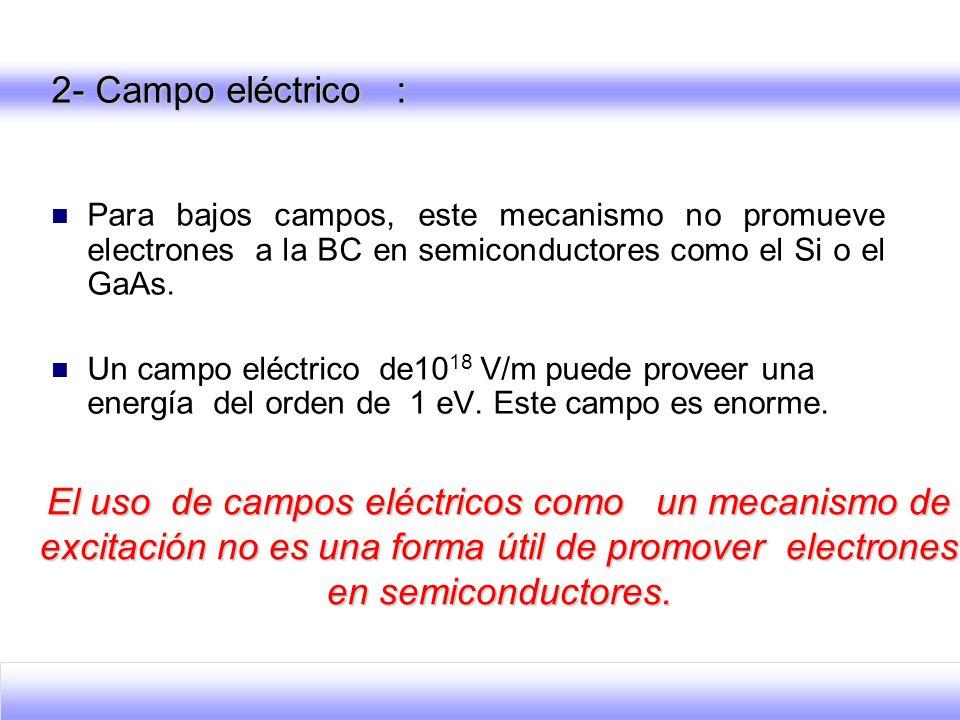 2- Campo eléctrico : Para bajos campos, este mecanismo no promueve electrones a la BC en semiconductores como el Si o el GaAs.