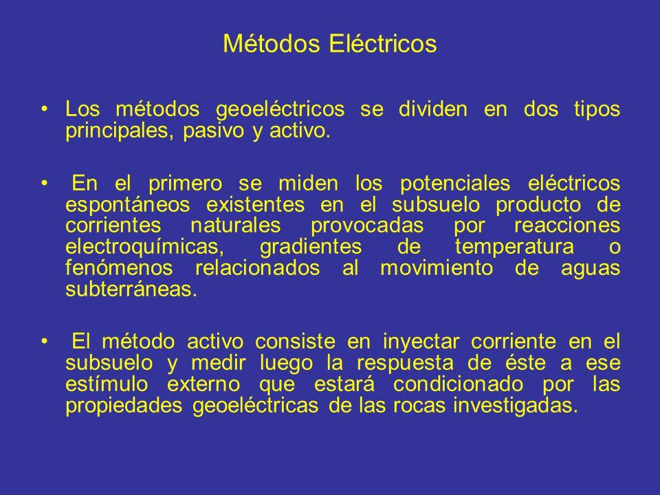 Métodos Eléctricos Los métodos geoeléctricos se dividen en dos tipos principales, pasivo y activo.