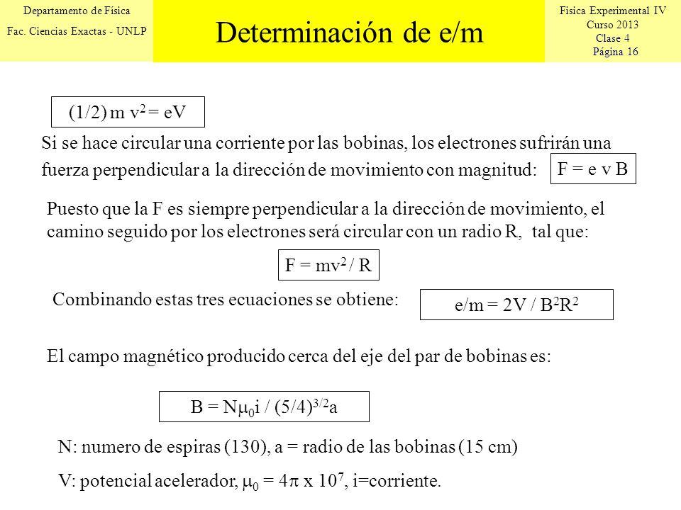Determinación de e/m (1/2) m v2 = eV
