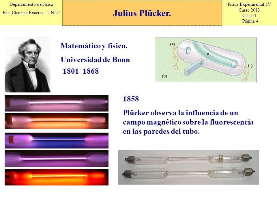 Julius Plücker. Matemático y físico. Universidad de Bonn 1801 -1868