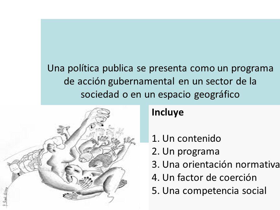 Una política publica se presenta como un programa de acción gubernamental en un sector de la sociedad o en un espacio geográfico