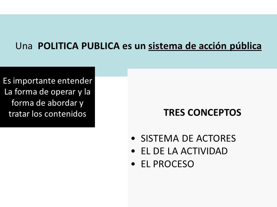 Una POLITICA PUBLICA es un sistema de acción pública