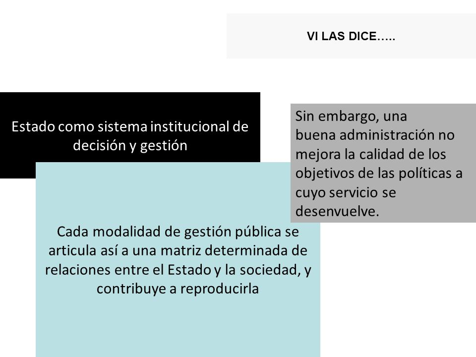 Estado como sistema institucional de decisión y gestión