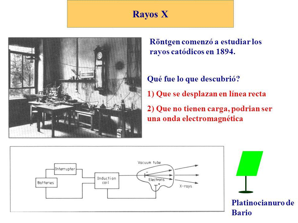 Rayos X Röntgen comenzó a estudiar los rayos catódicos en 1894.