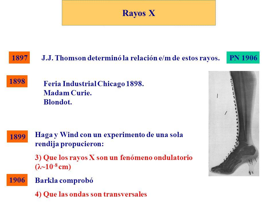 Rayos X 1897 J.J. Thomson determinó la relación e/m de estos rayos.