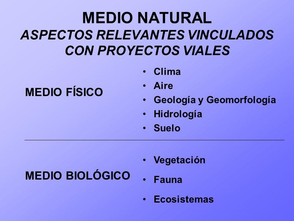 MEDIO NATURAL ASPECTOS RELEVANTES VINCULADOS CON PROYECTOS VIALES