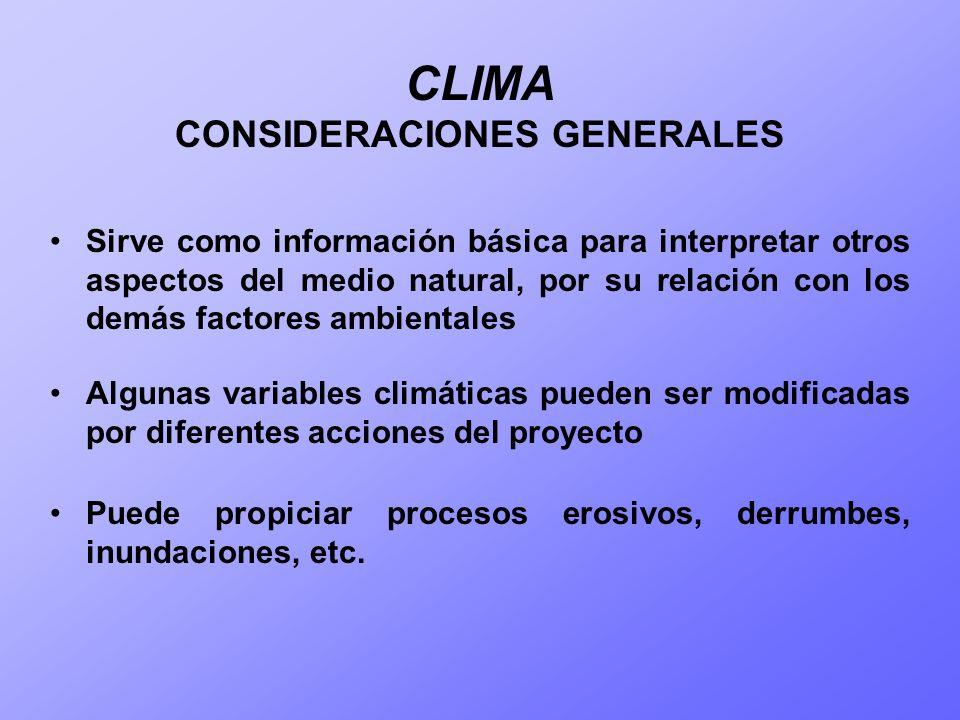 CLIMA CONSIDERACIONES GENERALES