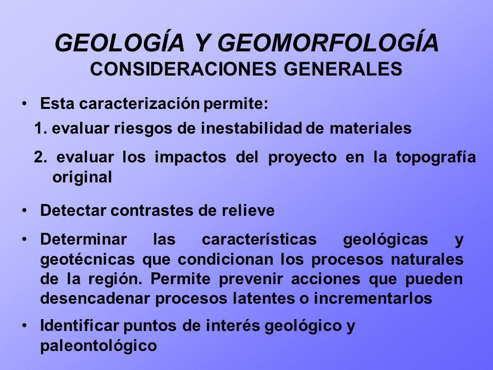 GEOLOGÍA Y GEOMORFOLOGÍA CONSIDERACIONES GENERALES