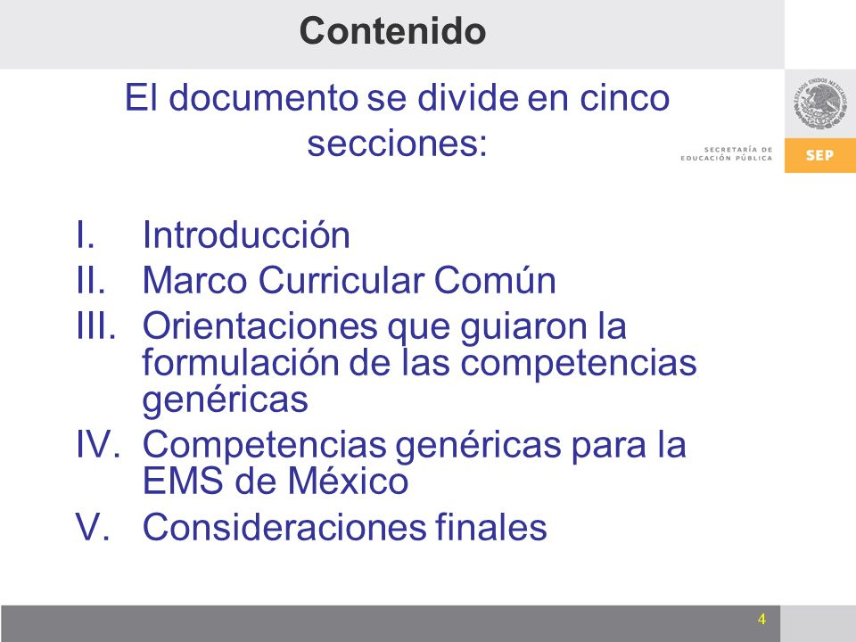 El documento se divide en cinco
